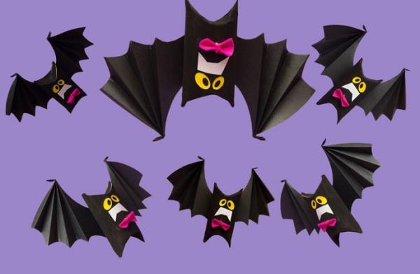 Fledermaus basteln mit Kindern zu Halloween – 50 bezaubernde Ideen und Anleitungen klorollen papprollen fledermäuse