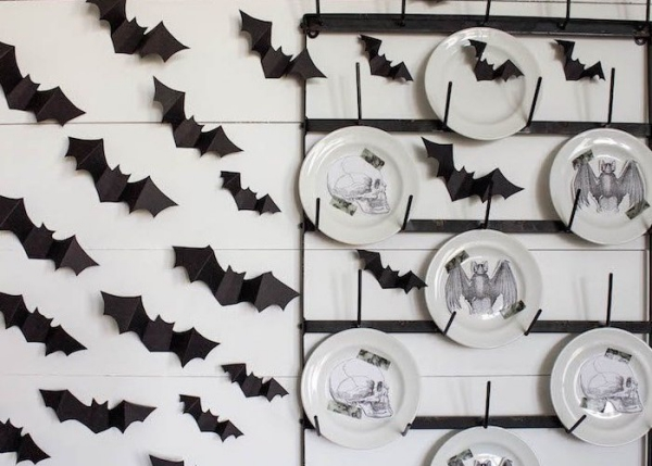 Fledermaus basteln mit Kindern zu Halloween – 50 bezaubernde Ideen und Anleitungen wand deko küche ideen