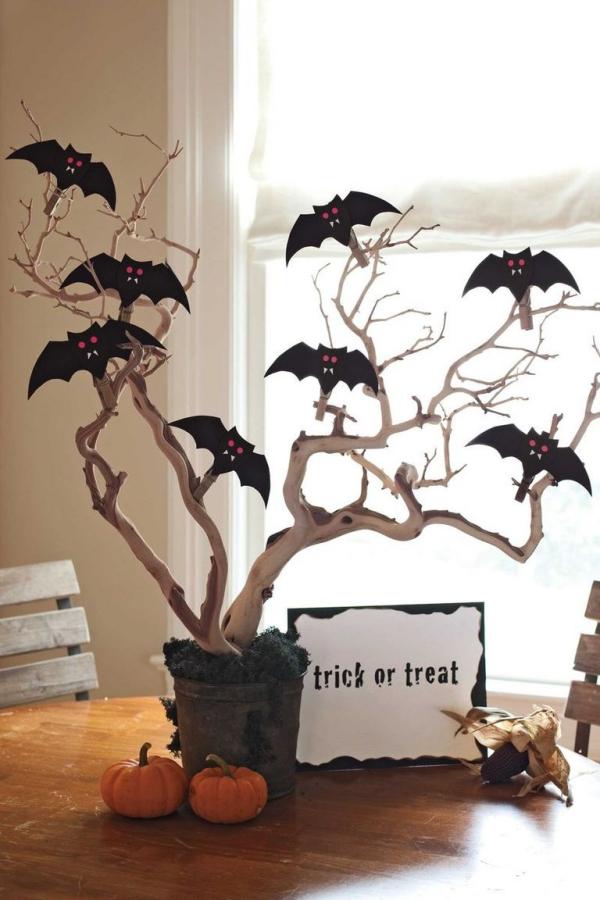 Fledermaus basteln mit Kindern zu Halloween – 50 bezaubernde Ideen und Anleitungen zweige tiere diy deko