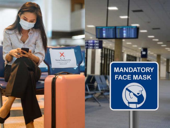 Fliegen während Corona am Flughafen eine Mundschutzmaske tragen die Regeln einhalten