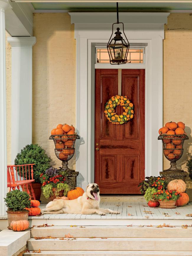 Herbstdeko für draußen vor der Haustür Hund schöner Herbstkranz orangefarbene Kürbisse