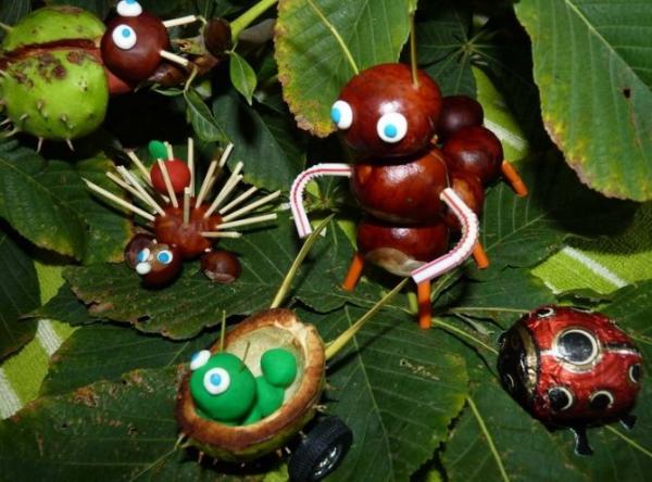 Ideen für Kastanien mit Naturgaben Kastanienfiguren