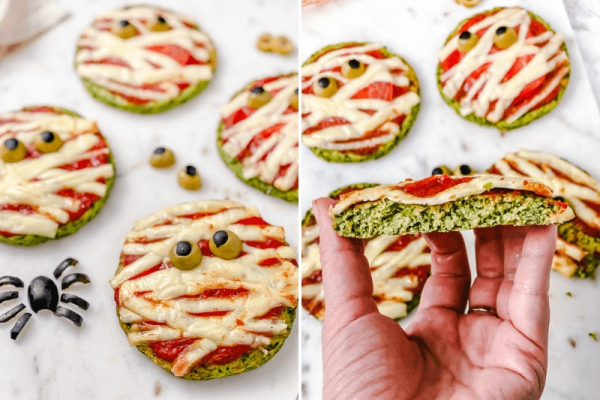 Köstliche und schnelle Halloween Rezepte, die verzaubern halloween gemüse pizza spinat