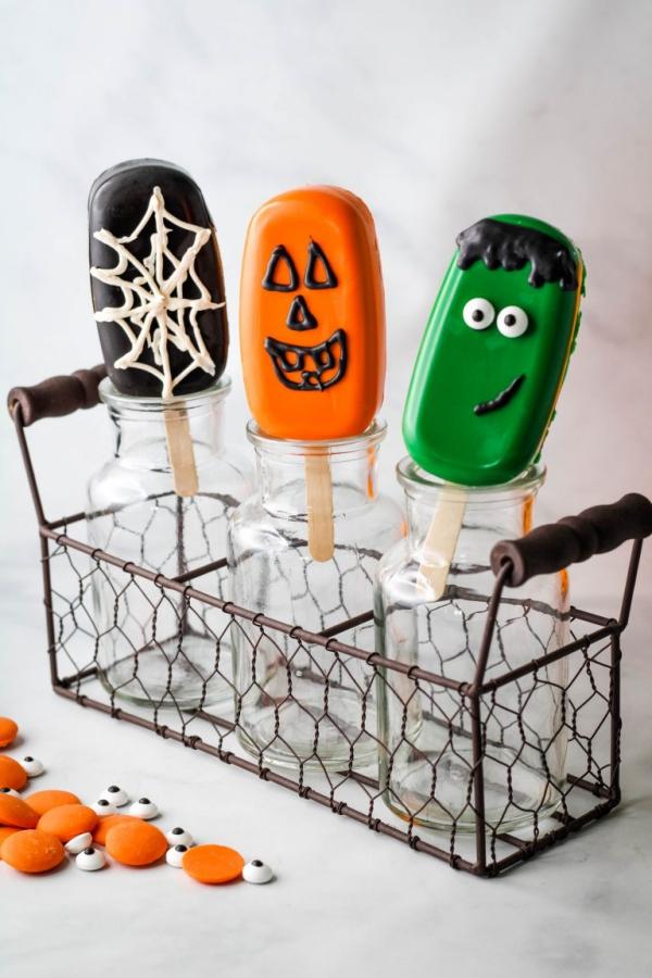 Köstliche und schnelle Halloween Rezepte, die verzaubern kuchen eisstäbchen lecker süß
