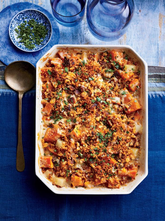 Kürbis Rezepte herbstlicher Kürbis-Kartoffel- Auflauf schnell zubereiten schmeckt sehr gut