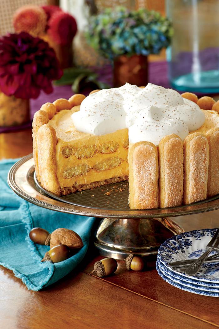Kürbis Rezepte leckere Biscotti Torte mit Kürbis-Füllung Herbstgeschmack