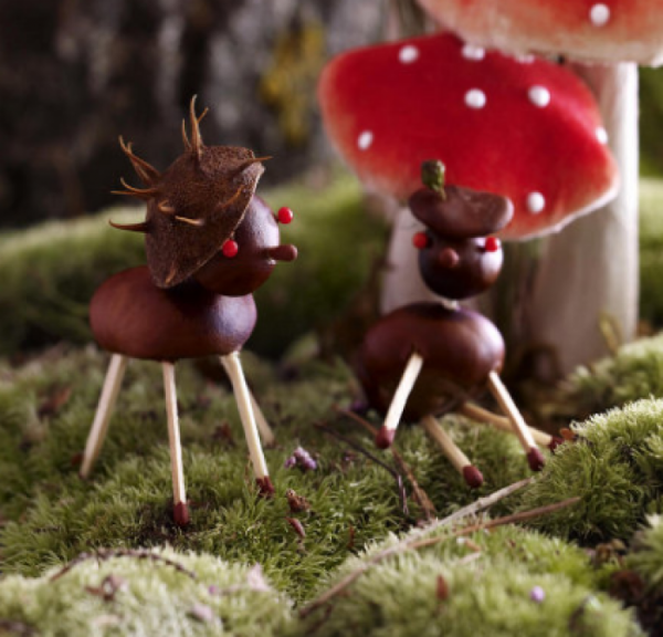Kastanienfiguren Hirschfiguren - tolle Ideen mit Tieren