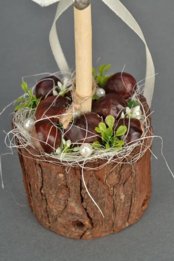 Kastanienfiguren Hochzeitsdeko Ideen