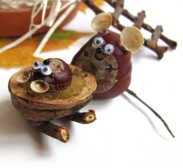 Kastanienfiguren Mäuse und Nüsse Ideen - Kastanien