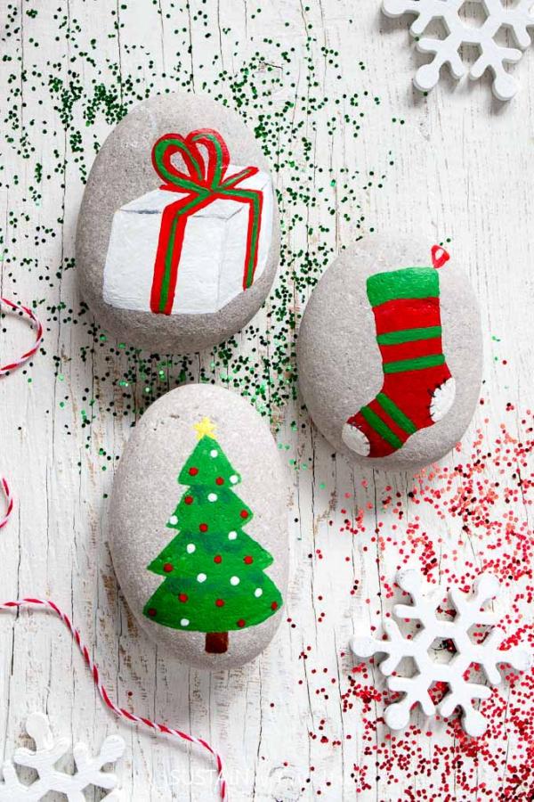 Steine bemalen zu Weihnachten – künstlerische Ideen und Tipps für eine festliche Winterdeko einfache bilder designs weihnachten