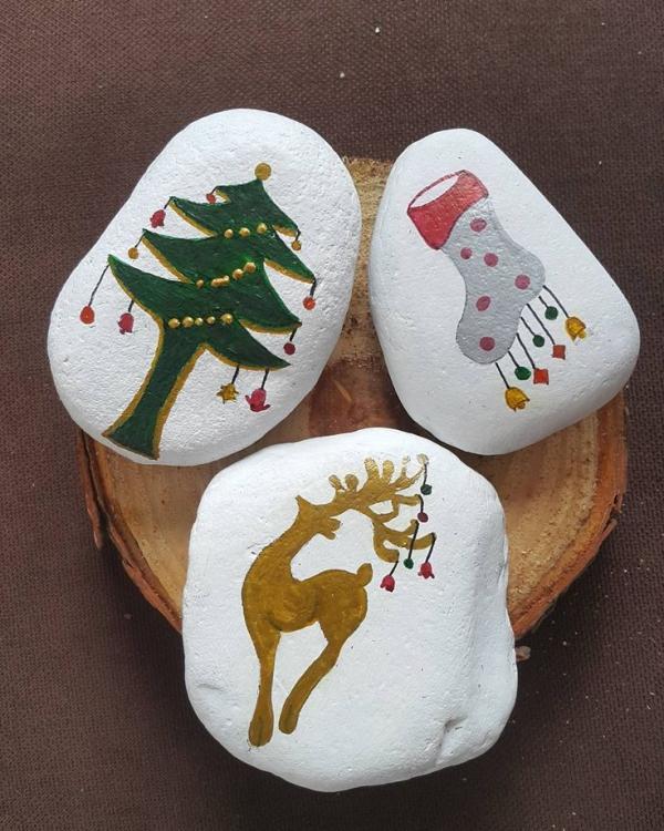 Steine bemalen zu Weihnachten – künstlerische Ideen und Tipps für eine festliche Winterdeko einfache motive leicht kinder