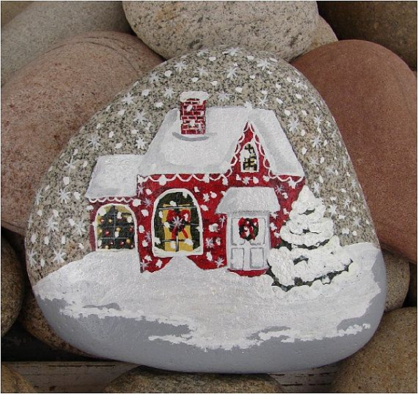 Steine bemalen zu Weihnachten – künstlerische Ideen und Tipps für eine festliche Winterdeko haus im winter landschaft