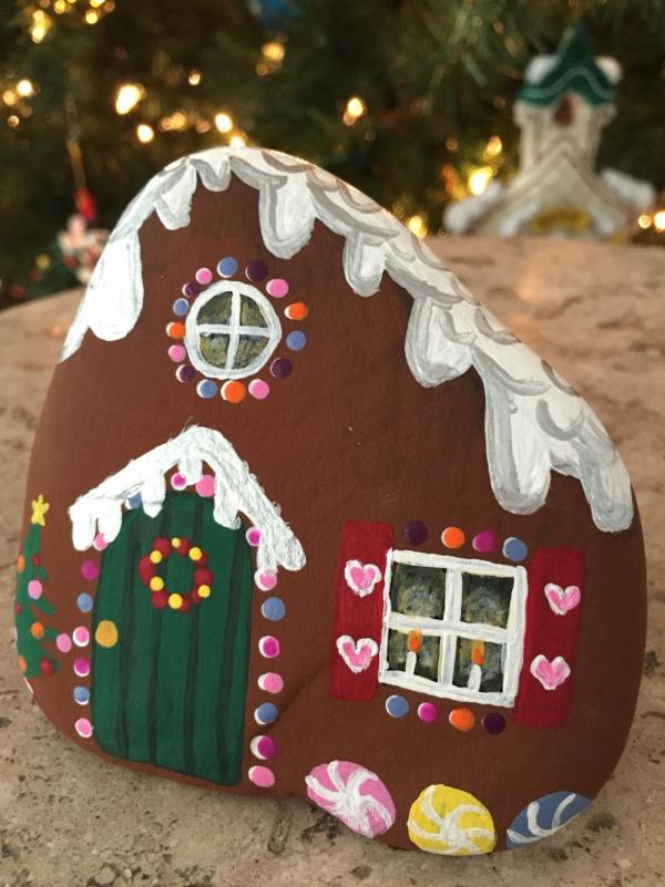 Steine bemalen zu Weihnachten – künstlerische Ideen und Tipps für eine festliche Winterdeko lebkuchenhaus deko weihnachten