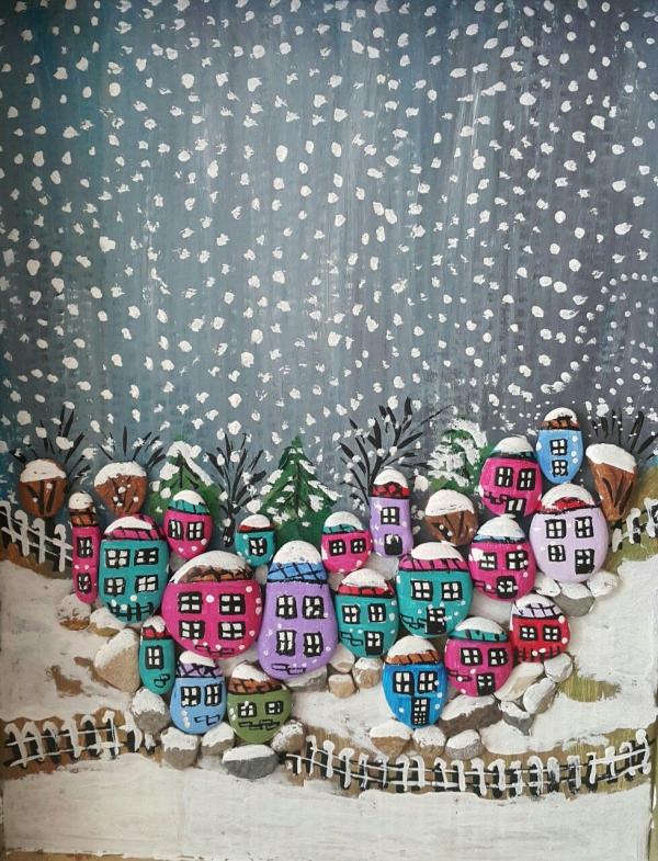 Steine bemalen zu Weihnachten – künstlerische Ideen und Tipps für eine festliche Winterdeko weihnachtsdorf dorf landschaft viele kleine steine