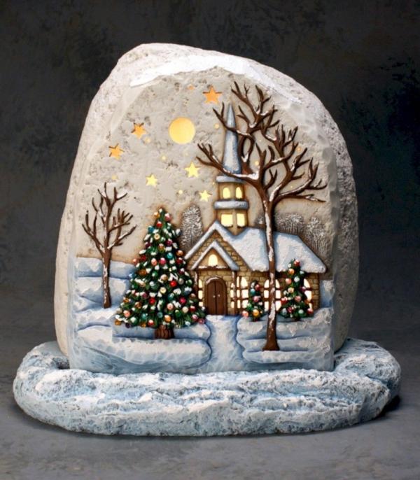 Steine bemalen zu Weihnachten – künstlerische Ideen und Tipps für eine festliche Winterdeko winter landschaft stein fels