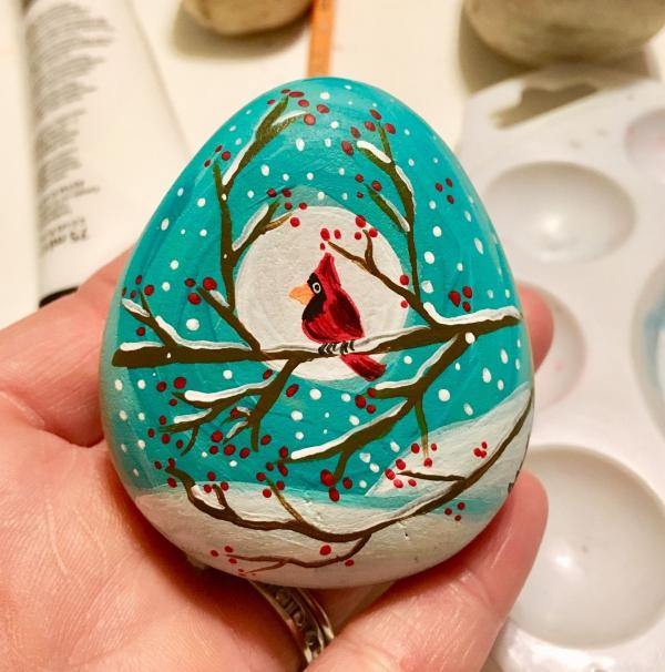 Steine bemalen zu Weihnachten – künstlerische Ideen und Tipps für eine festliche Winterdeko winter landschaft vogel ast mond