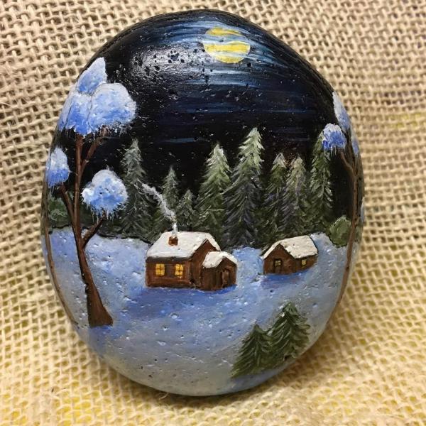 Steine bemalen zu Weihnachten – künstlerische Ideen und Tipps für eine festliche Winterdeko winterlandschaft schnee dorf nacht