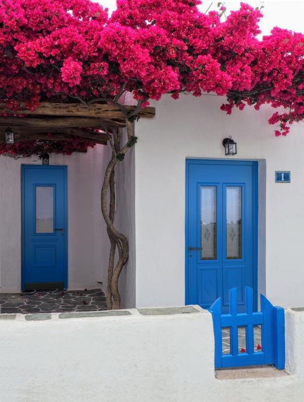 Tolle Ideen für die Haustür Pirnar-weiß-Wand-blaue-Haustueren