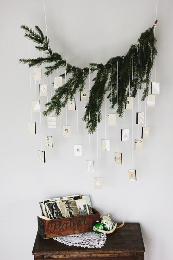 Winterdeko basteln zu Weihnachten adventkalender zweig ast vintage