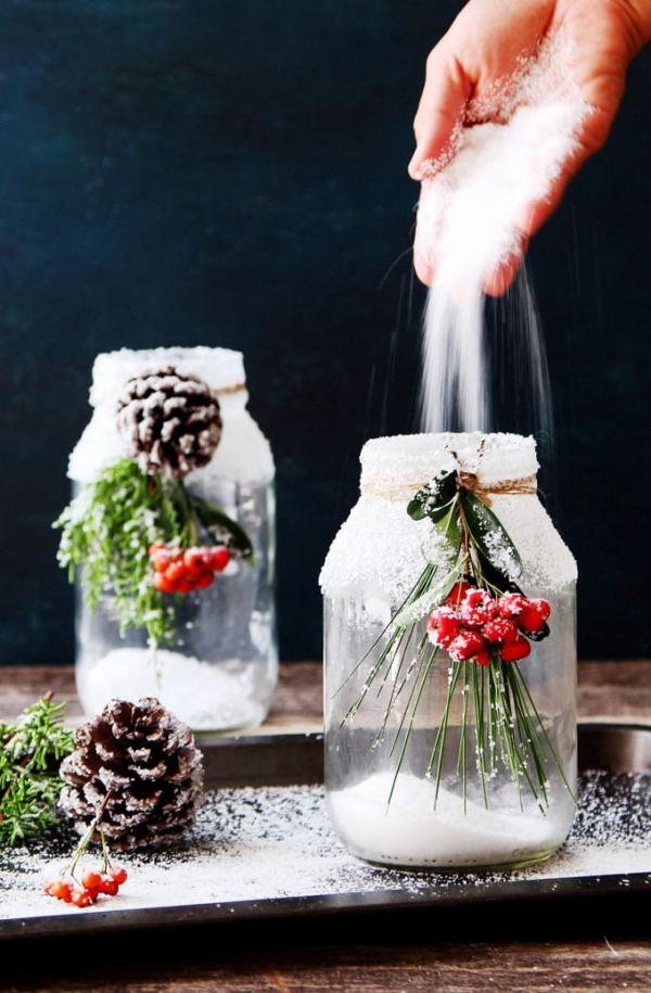 Winterdeko basteln zu Weihnachten einmachgläser deko schnee salz