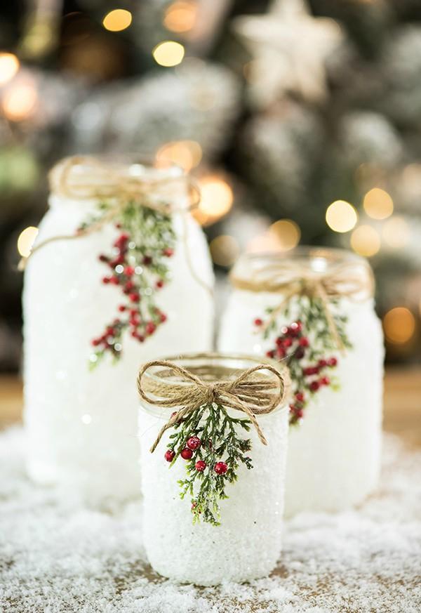 Winterdeko basteln zu Weihnachten einmachgläser salz schnee deko