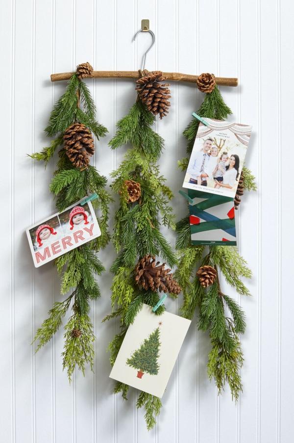 Winterdeko basteln zu Weihnachten fotohalter bilder karten tannenzweige