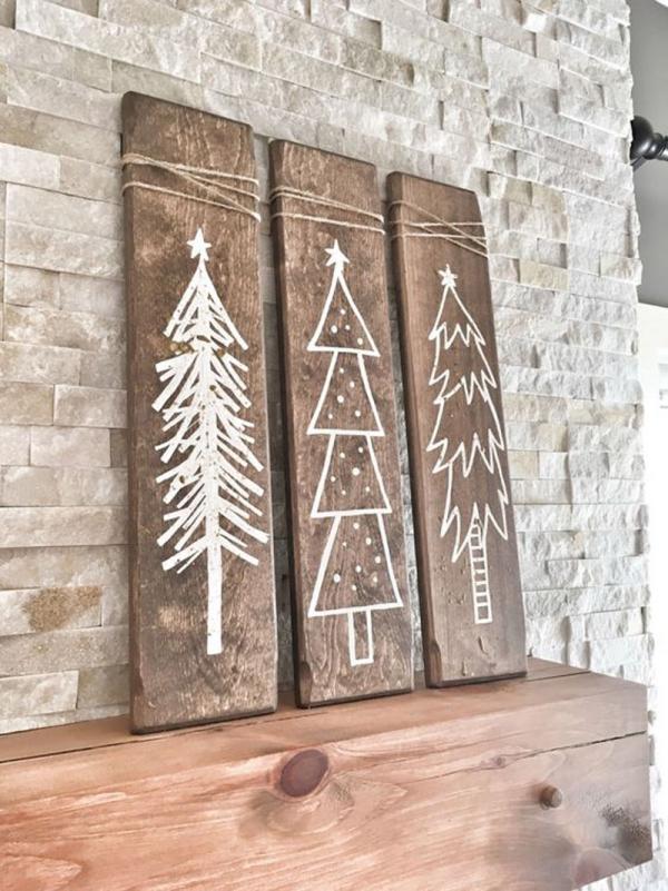 Winterdeko basteln zu Weihnachten holz deko winter bäume