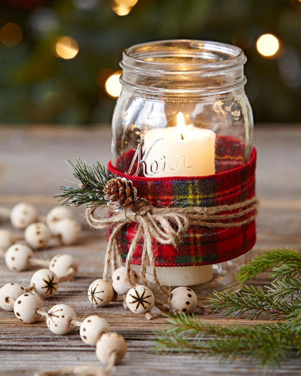Winterdeko basteln zu Weihnachten kerzenhalter deko ideen einfach