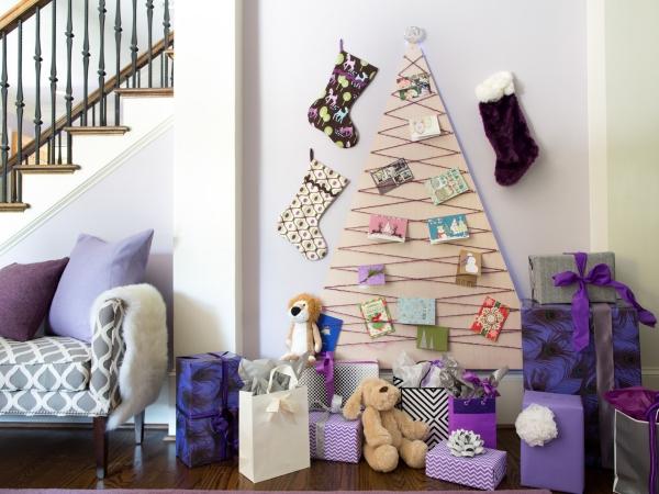 Winterdeko basteln zu Weihnachten lila weihnachten deko ideen baum geschenke
