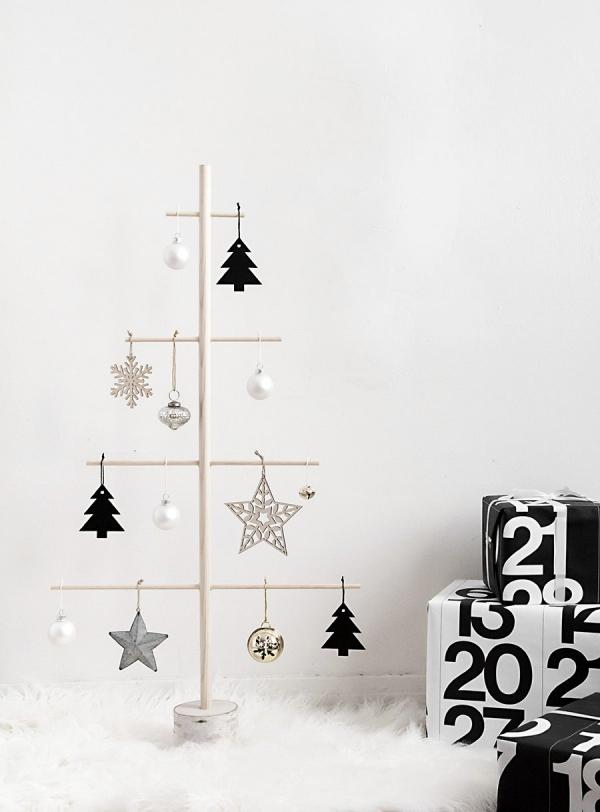 Winterdeko basteln zu Weihnachten minimalistische deko tannenbaum ornament