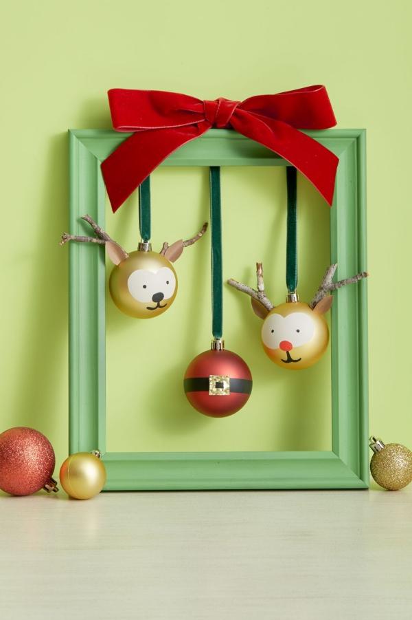 Winterdeko basteln zu Weihnachten rentier weihnachtsmann deko ideen