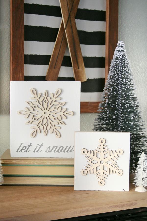 Winterdeko basteln zu Weihnachten schneeflocken kunst holz laser schnitt