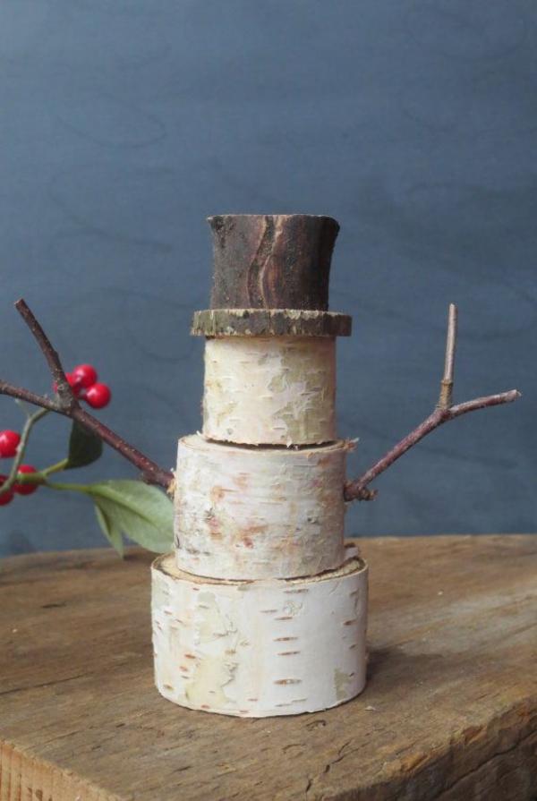 Winterdeko basteln zu Weihnachten schneemann holz birkenrinde