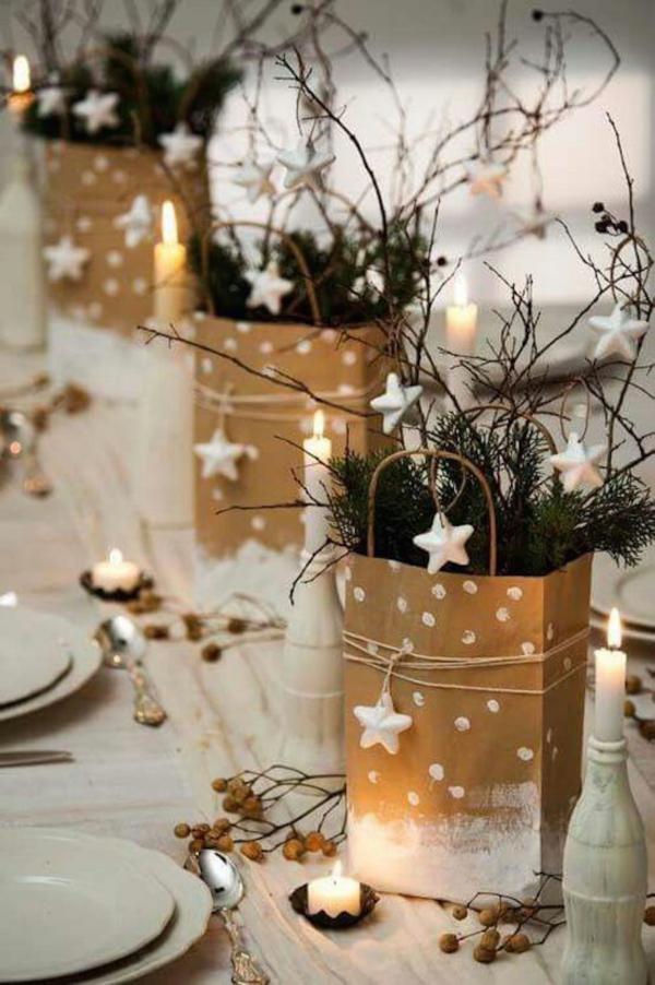 Winterdeko basteln zu Weihnachten tischdeko winter vintage tüten