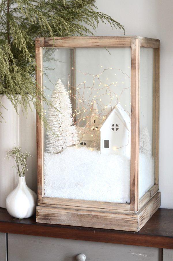 Winterdeko basteln zu Weihnachten vitrine kunstschnee dorf landschaft