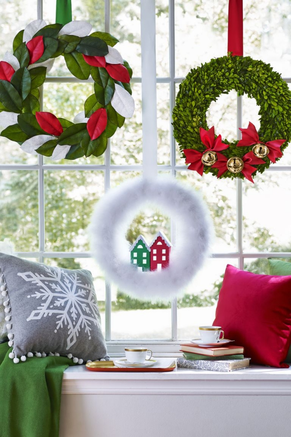 Winterdeko basteln zu Weihnachten weihnachten kranz fensterdeko ideen