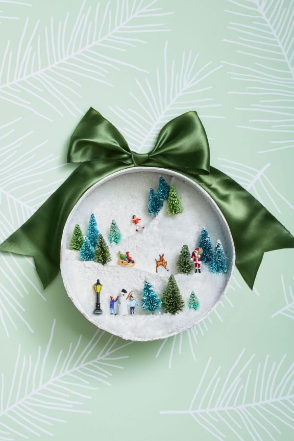 Winterdeko basteln zu Weihnachten winter landschaft deko ornament