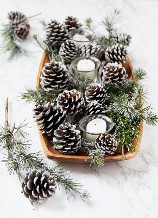 Winterdeko basteln zu Weihnachten zapfen deko winter tischdeko