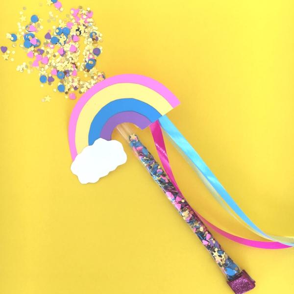 Zauberstab basteln mit Kindern zu Halloween oder Fasching – Ideen und Anleitungen regenbogen stab feen