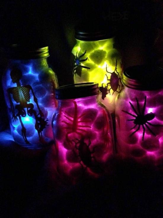 diy halloween deko mit leuchtfarbe