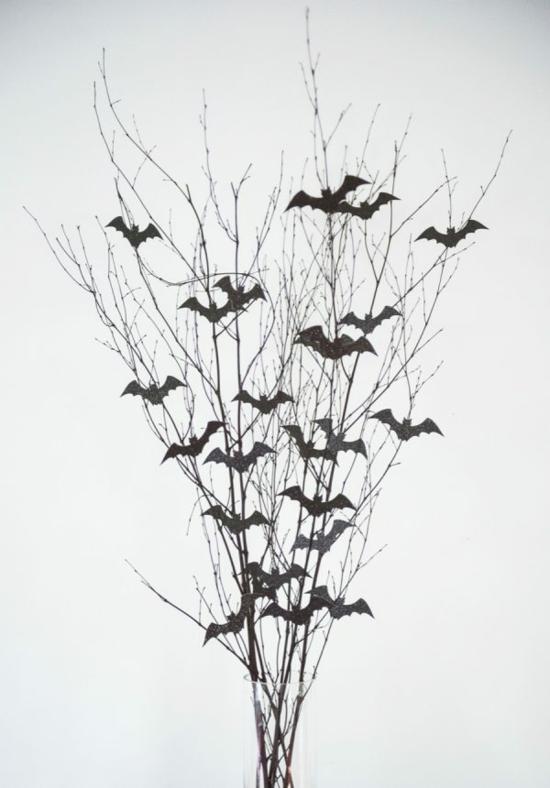 einfache diy halloween tischdeko fledermäuse aus papier