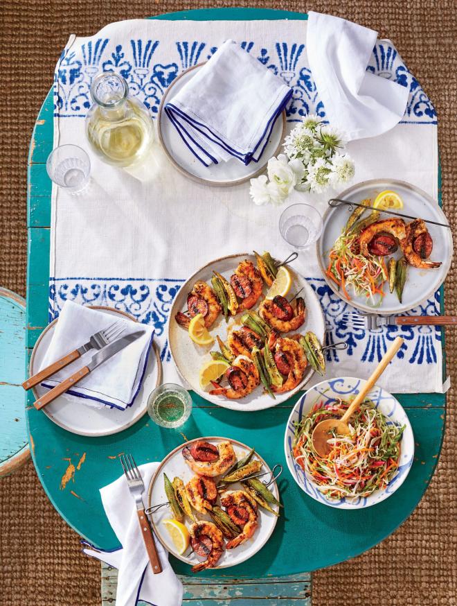 gesundes Abendessen schnelle Rezepte gegrillte Shrimps mit Gemüse-Eibisch weiteres Gemüse