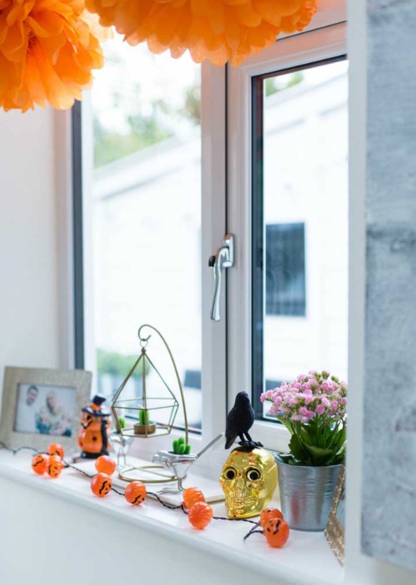 halloween deko fensterbank dekorieren