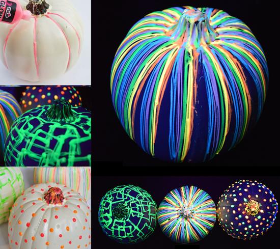 halloween deko kürbisse bemalen mit leuchtfarbe