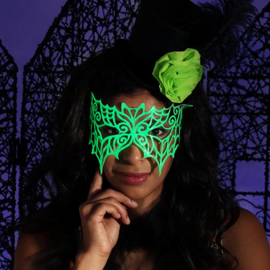 halloween maske leuchtfarbe neongrün