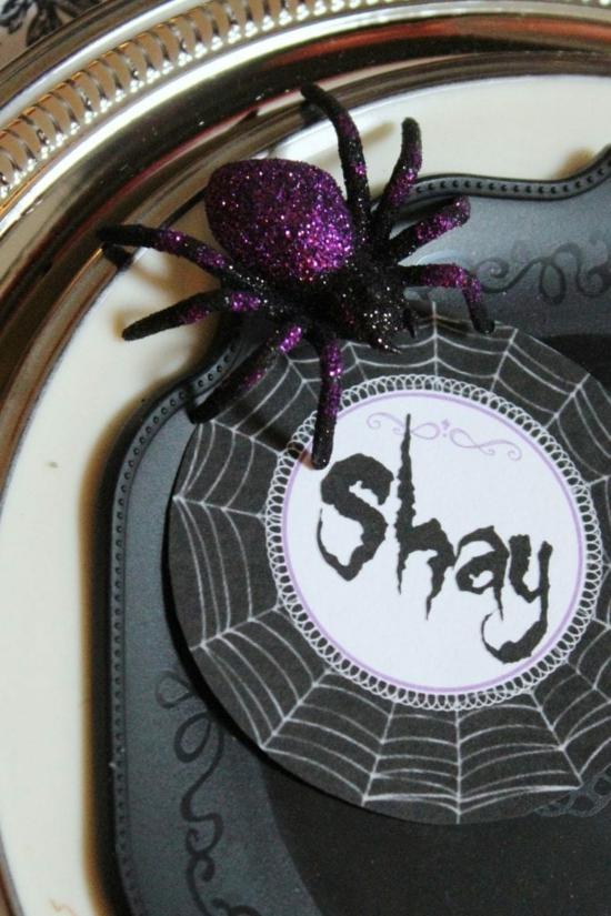 halloween tischdeko originelle platzkarte spinne