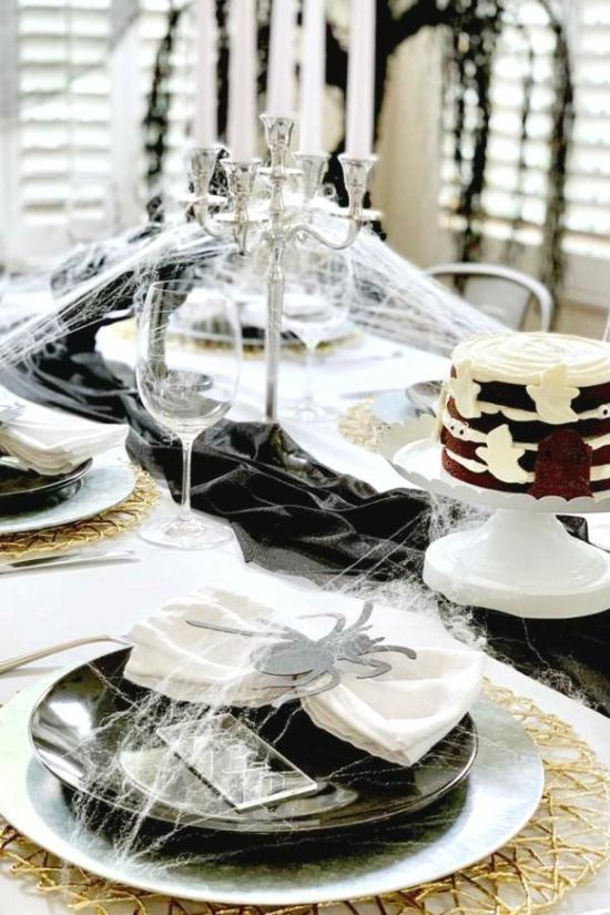 halloween tischdeko stilvoll schwarz weiß