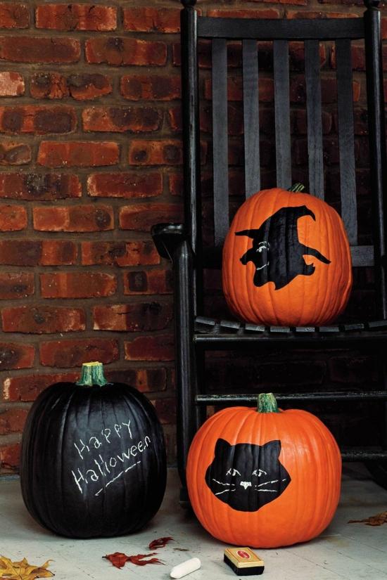 happy halloween diy deko kürbis bemalen