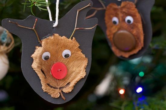 herbstblätter bastelidee weihnachten rentier basteln