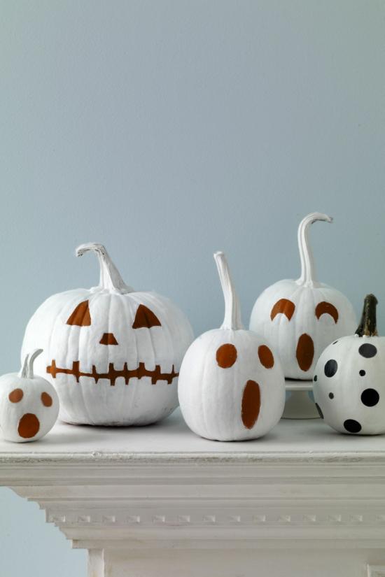 kürbis bemalen gruselige halloween deko mit kürbissen